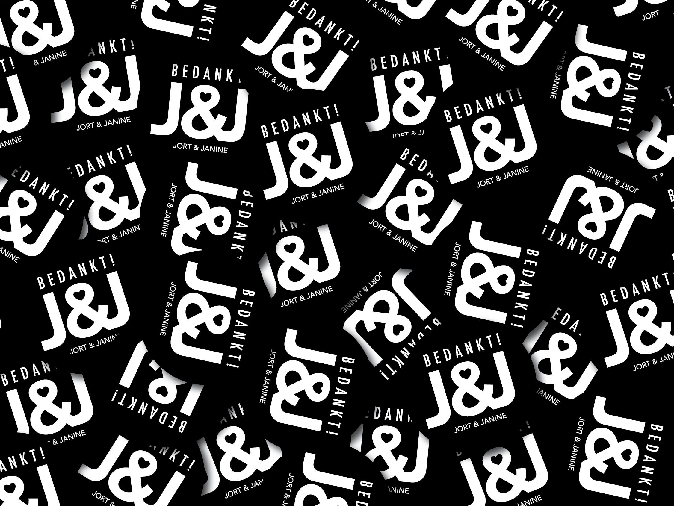 Jort_&_Janine_XAdesign_Xander_Abbink_trouwkaart-sticker-bedankt